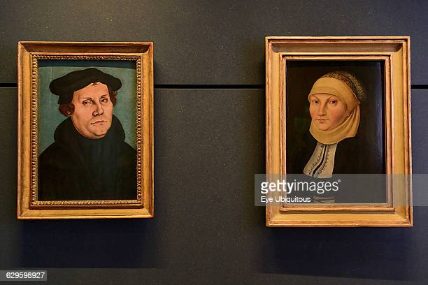 Germany Saxony Anhalt Lutherstadt Wittenberg The Lutherhaus Luther's residence Paintings of Luther and his wife Katharina von Bora by Lucas Cranach...