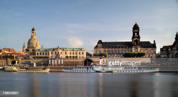 Germany, Saxony, Dresden, Bruehls Terrace with Frauenkirche and Sekundogenitur at River Elbe