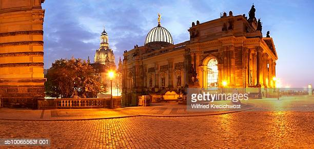 Germany, Saxony, Dresden, Frauenkirche and Albertinum illuminated at dusk