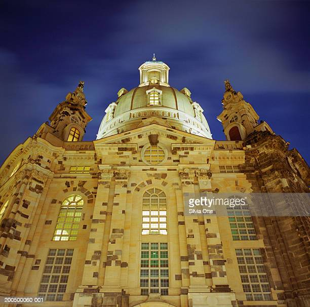 Germany, Saxony, Dresden, Frauenkirche facade at night,