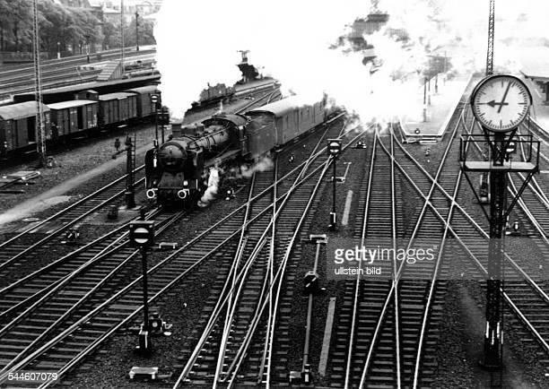 Germany Saxony Dresden steam locomotive leaving Dresden Central Station 1938