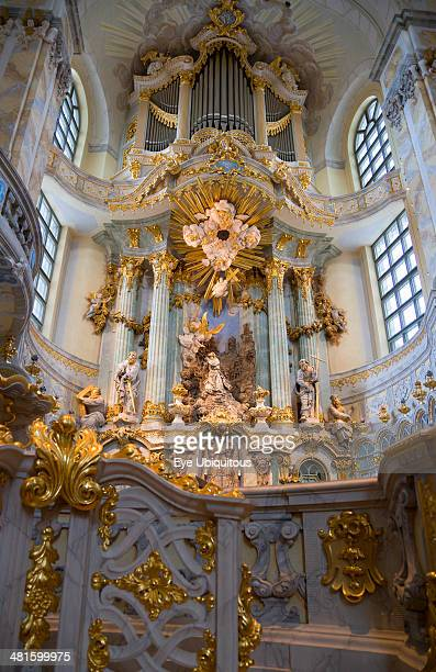 Germany Saxony Dresden Interior of the restored Frauenkirche Church of Our Lady showing the altar and the organ