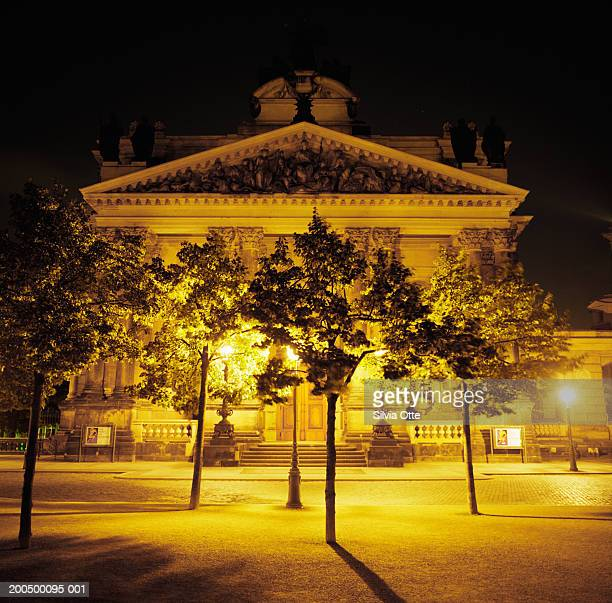 Germany, Saxony, Dresden, Palais Bruhlsche Terrasse facace at night