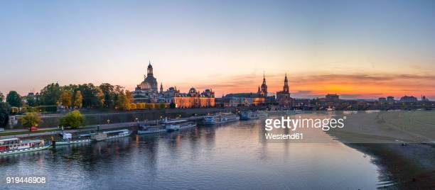 Germany, Saxony, Dresden, Skyline in the evening