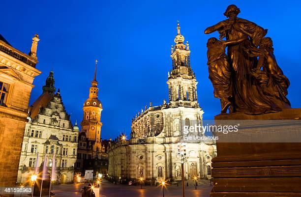 Germany Saxony Dresden The 18th Century Hofkirche Catholic Cathedral of Saint Trinitatis and the illuminated tower of the Residenzschloss and the...