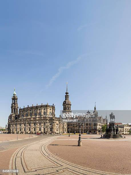 Germany, Saxony, Dresden, Theatre Square with Baroque Hofkirche Church, Neo-Renaissance Palace and sculpture of King Johann