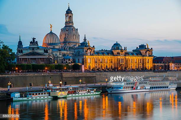 Germany, Saxony, Dresden, View of Academy of Fine Arts, Bruehl's Terrace, Sekundogenitur and Church of Our Lady with Elbe waterfront in the evening