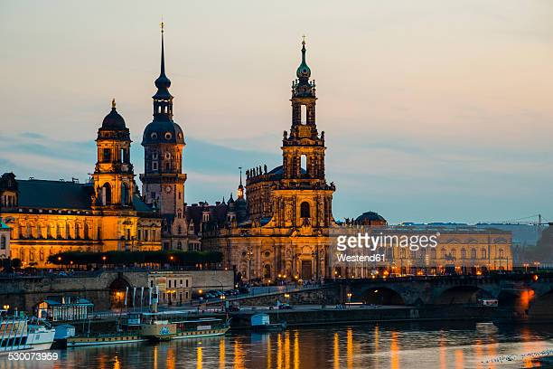 Germany, Saxony, Dresden, View of Academy of Fine Arts, Bruehl's Terrace, Sekundogenitur, Hausmann Tower, House of the Estates, Dresden Cathedral with Elbe waterfront in the evening