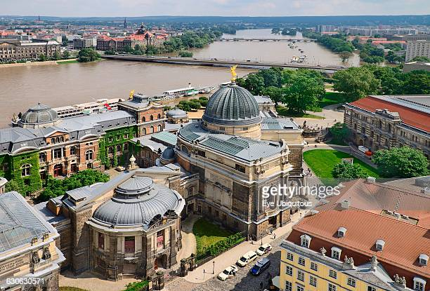 Germany Saxony Dresden View of the Albertinum Modern Art Gallery and the River Elbe from the dome of Frauenkirche