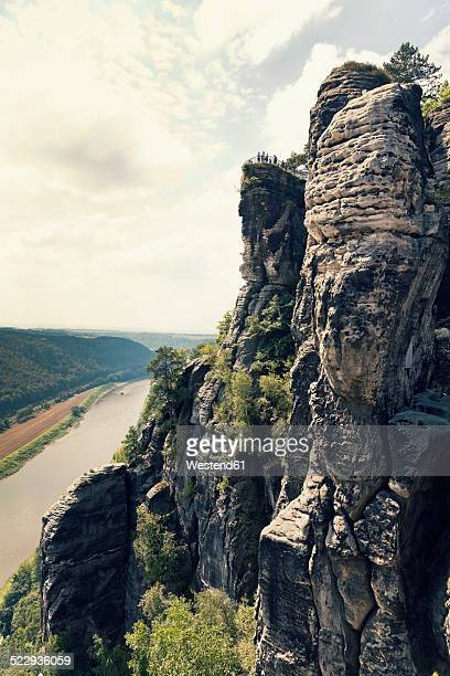Germany, Saxony, Elbe Sandstone Mountains, view from Bastei Bridge at Elbe River