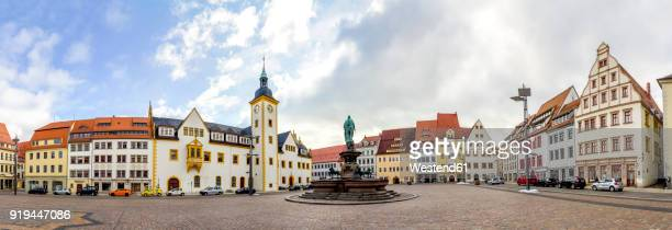 germany, saxony, freiberg, panoramic view of upper market - marktplatz stock-fotos und bilder