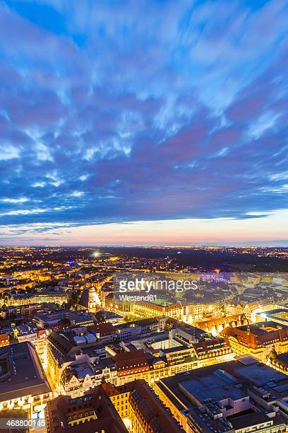 Germany, Saxony, Leipzig, City center at dusk