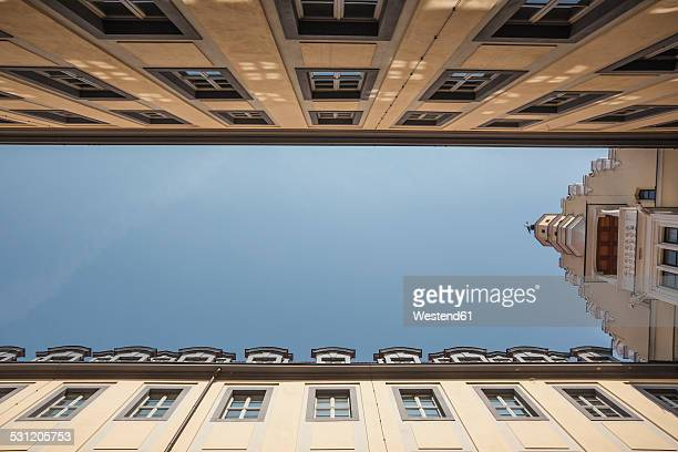 Germany, Saxony, Leipzig, courtyard with neo-baroque facades, extreme worms eye