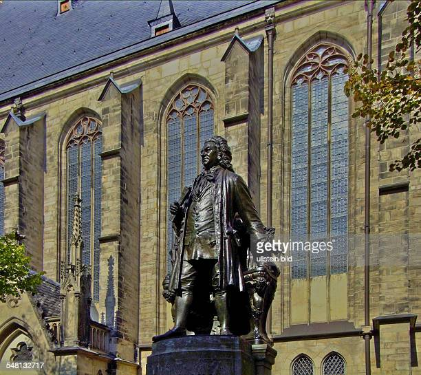 Germany Saxony Leipzig Memorial of the composer Johann Sebastian Bach in front of the church 'Thomaskirche'