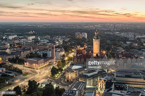 Germany, Saxony, Leipzig, View to New Townhall, St. Trinitatis and Federal Administrative Court after sunset