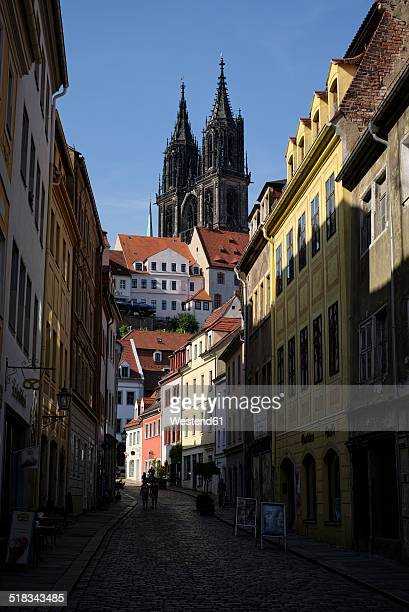germany, saxony, meissen, view to alley in the historical city center - saxony stock pictures, royalty-free photos & images