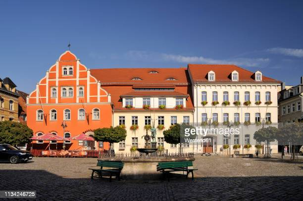 germany, saxony, pulsnitz, market square, old townhall - saxony stock pictures, royalty-free photos & images
