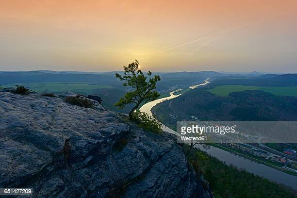germany, saxony, saxon switzerland, elbe sandstone mountains, elbe river at sunset - saxony stock pictures, royalty-free photos & images