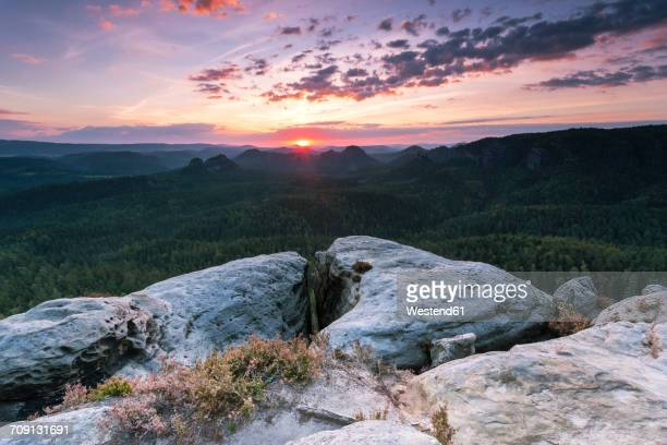 Germany, Saxony, Saxon Switzerland, Kleiner Zschand and Kleiner Winterberg at twilight