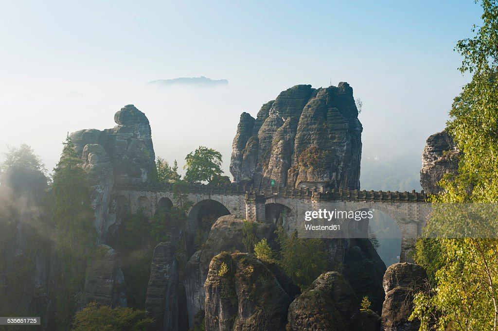 Germany, Saxony, Saxon Switzerland, National Park, Bastei Bridge : Stock Photo