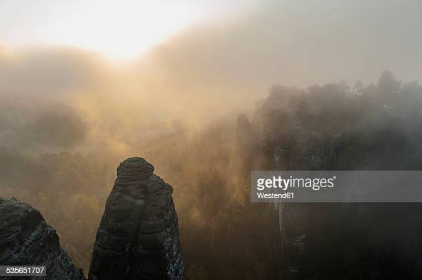 Germany, Saxony, Saxon Switzerland, National Park, Bastei rock formation in the fog
