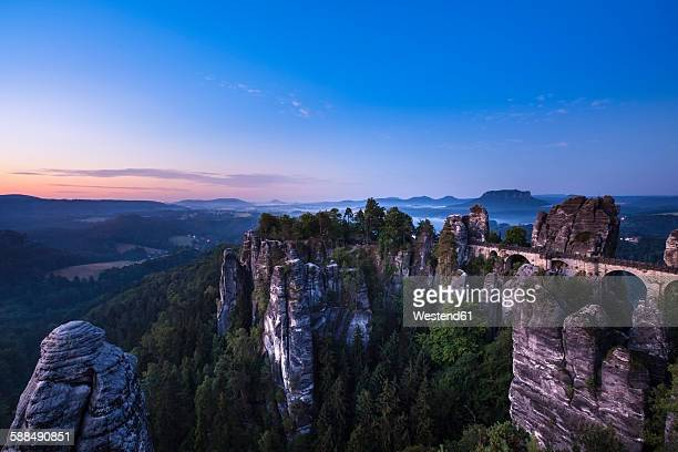 Germany, Saxony, Saxon Switzerland National Park, Elbe Sandstone Mountains and Bastei at dawn
