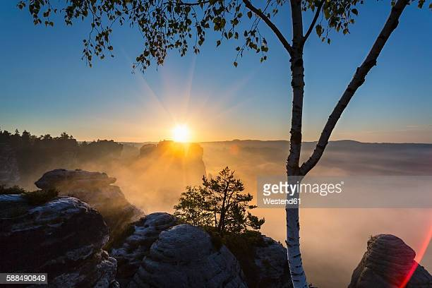 Germany, Saxony, Saxon Switzerland National Park, Elbe Sandstone Mountains at dawn