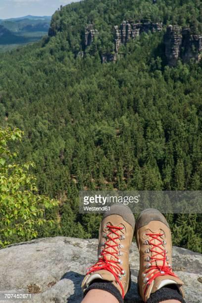 Germany, Saxony, Saxon Switzerland National Park, View on hiking shoes