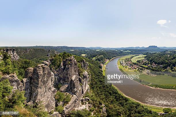 Germany, Saxony, Saxon Switzerland, View from the Bastei over the Elbe valley
