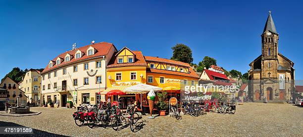 Germany, Saxony, Stadt Wehlen, Market square with town hall and parish church