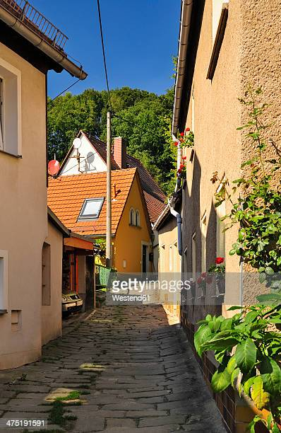 germany, saxony, stadt wehlen, narrow alley and houses - stadt stock pictures, royalty-free photos & images