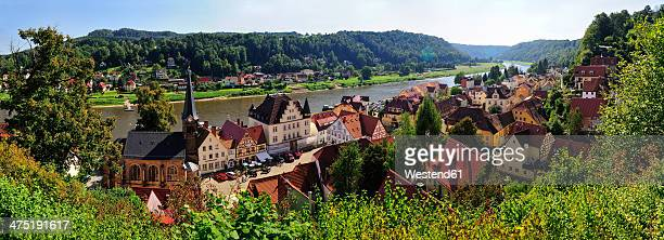 Germany, Saxony, Stadt Wehlen, Townscape with parish church and River Elbe