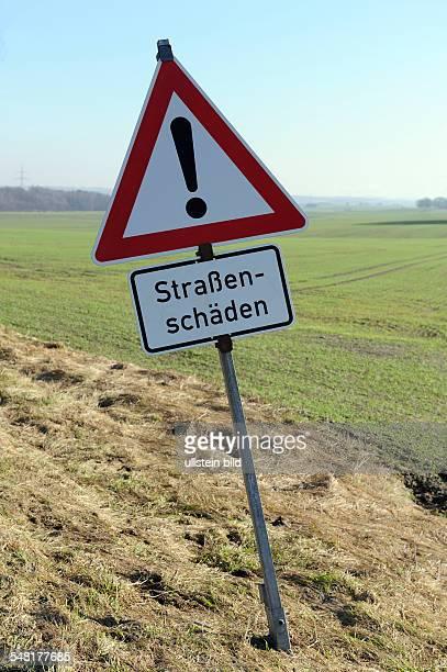 Germany Saxony - traffic sign road damage