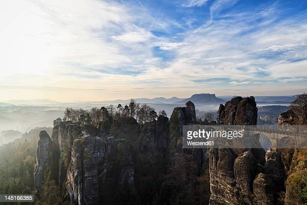 Germany, Saxony, View of Saxon Switzerland National Park at sunset