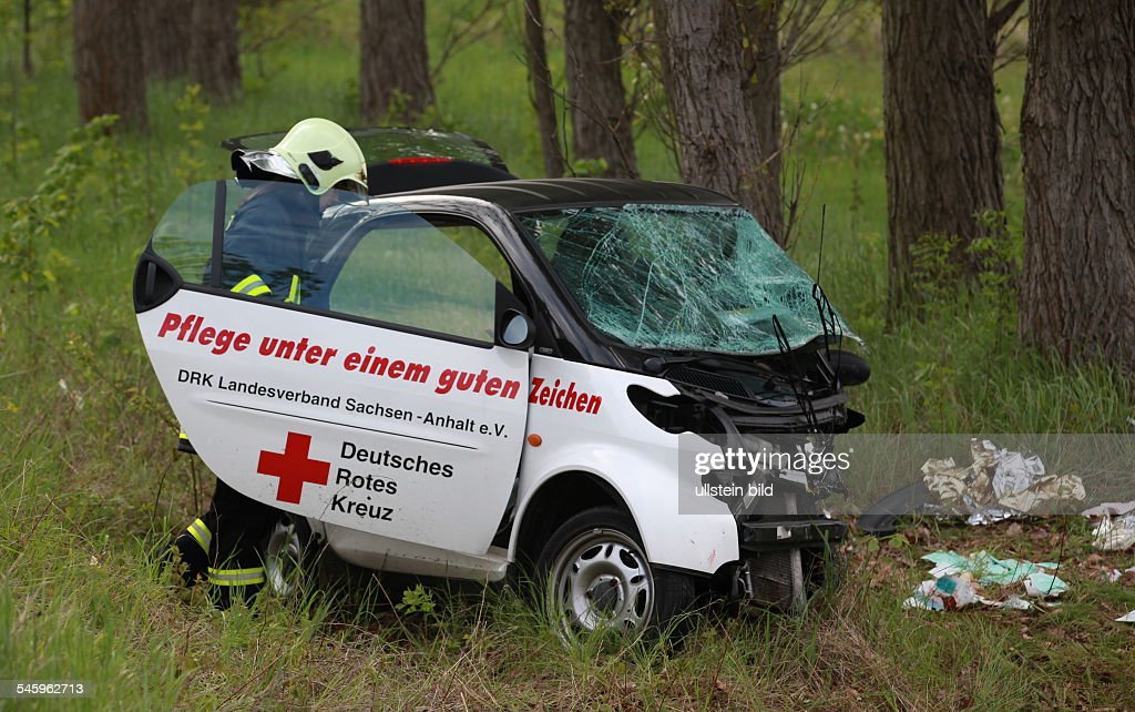 Germany Saxony-Anhalt - car accident, total loss of a Smat