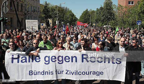 Germany SaxonyAnhalt Halle May Day protest counter demonstration of the alliance against rightwing extremists