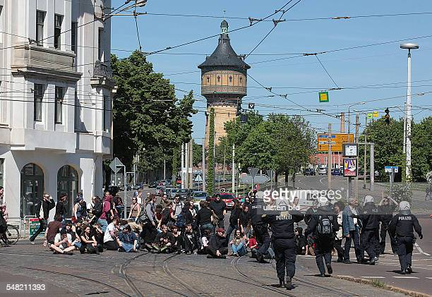 Germany SaxonyAnhalt Halle May Day protest counter demonstration of the alliance against rightwing extremists sitin protest