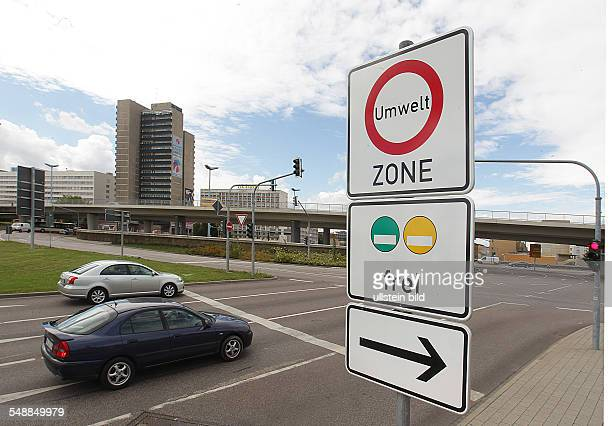 Germany Saxony-Anhalt Halle - traffic sign signs environmental green zone in the city am Riebeckplatz