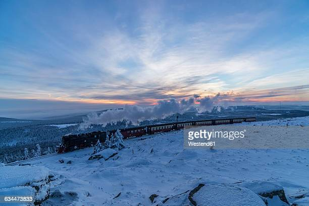 Germany, Saxony-Anhalt, Harz National Park, Brocken, Harz Narrow Gauge Railway in winter