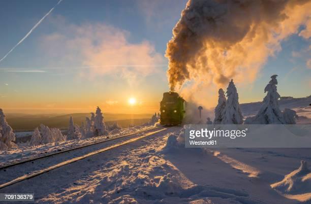 Germany, Saxony-Anhalt, Harz National Park, Brocken Railway at winter evening