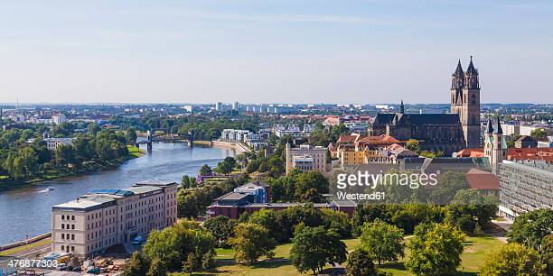 Germany, Saxony-Anhalt, Magdeburg, Cityscape with River Elbe and cathedral