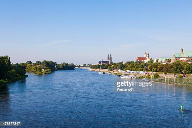 Germany, Saxony-Anhalt, Magdeburg, Cityscpae with River Elbe, cathedral and churches
