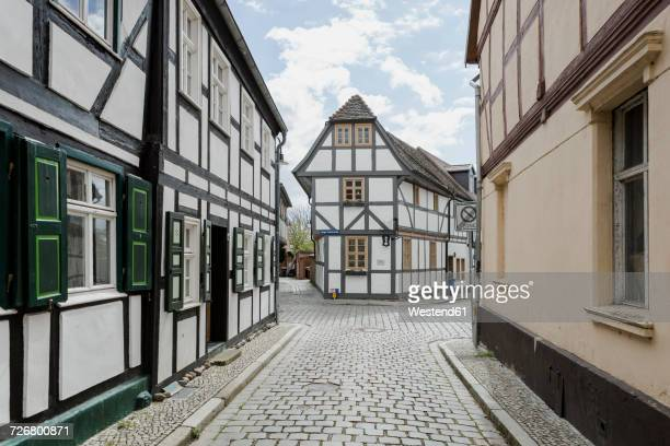 Germany, Saxony-Anhalt, Tangermuende, timber-framed houses in the old town