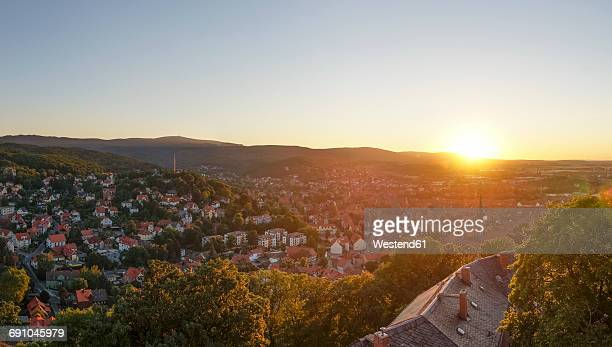 germany, saxony-anhalt, wernigerode at sunset - saxony anhalt stock pictures, royalty-free photos & images