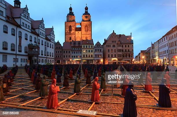 Germany SaxonyAnhalt Wittenberg 800 little figures of Christian reformer Martin Luther by the artist Ottmar Hoerl on the market place