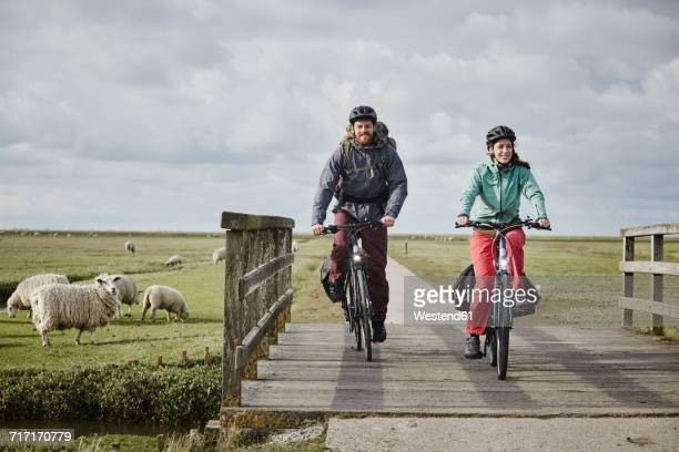 Germany, Schleswig-Holstein, Eiderstedt, couple on bicycles crossing bridge on path through salt marsh