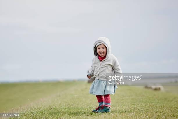 Germany, Schleswig-Holstein, Eiderstedt, happy little girl standing on dyke