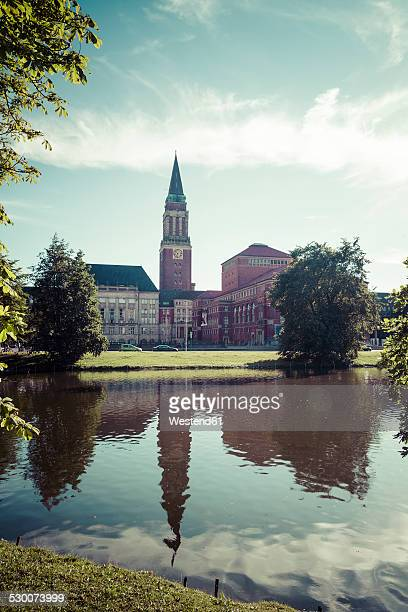 germany, schleswig-holstein, kiel, townhall tower and opera house, lake kleiner kiel - オペラ座 ストックフォトと画像