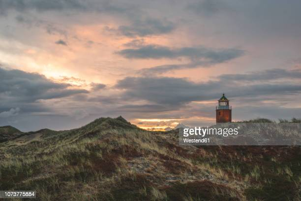 germany, schleswig-holstein, sylt, kampen, cross light in dunes at sunset - 雰囲気 ストックフォトと画像