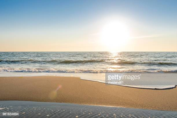 germany, schleswig-holstein, sylt, north sea, beach against the sun - strand stock-fotos und bilder